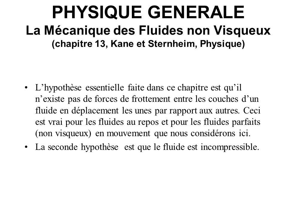 PHYSIQUE GENERALE La Mécanique des Fluides non Visqueux (chapitre 13, Kane et Sternheim, Physique) Mécanique Newtonienne pour les fluides: Au lieu de la masse m et la force F: Masse volumique = m / V [kg / m 3 ] Pression P = F / A [Pa = 1 N m -2 ] 1 atmosphère = 1 atm = 1, 013 x 10 5 Pa = 1, 013 bar = 760 Torr = 760 mm Hg