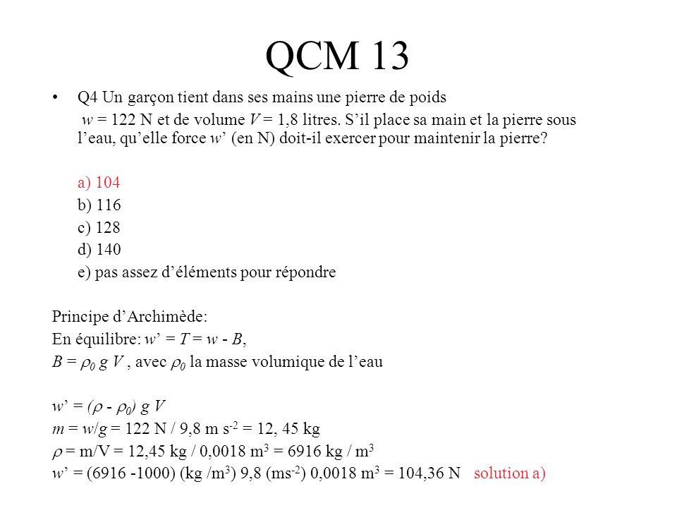 QCM 13 Q4 Un garçon tient dans ses mains une pierre de poids w = 122 N et de volume V = 1,8 litres. Sil place sa main et la pierre sous leau, quelle f