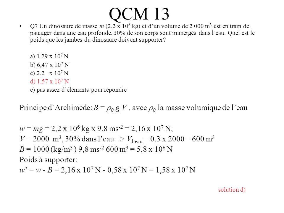 QCM 13 Q7 Un dinosaure de masse m (2,2 x 10 6 kg) et dun volume de 2 000 m 3 est en train de patauger dans une eau profonde. 30% de son corps sont imm