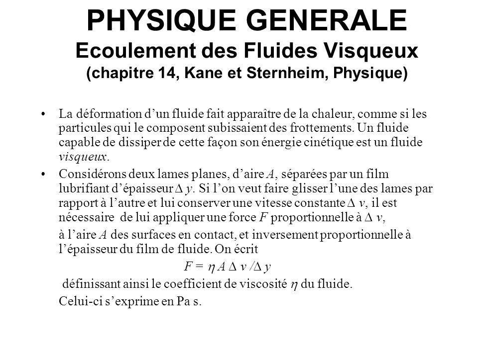 PHYSIQUE GENERALE Ecoulement des Fluides Visqueux (chapitre 14, Kane et Sternheim, Physique) La déformation dun fluide fait apparaître de la chaleur,
