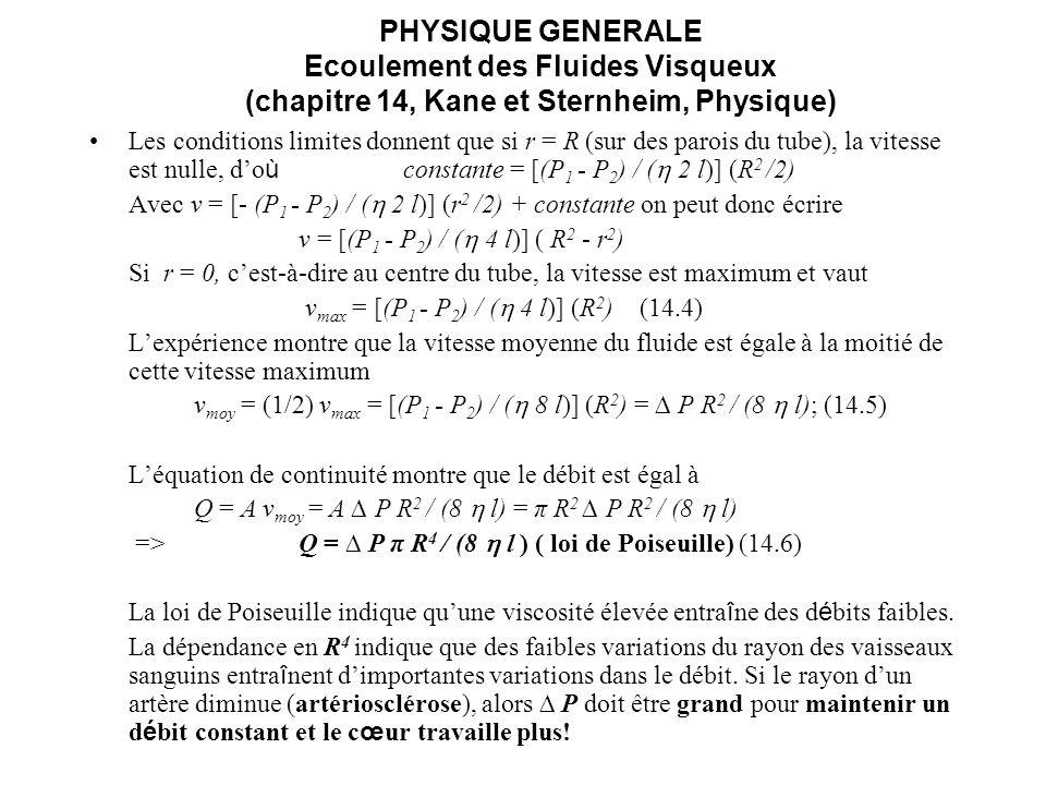 PHYSIQUE GENERALE Ecoulement des Fluides Visqueux (chapitre 14, Kane et Sternheim, Physique) Les conditions limites donnent que si r = R (sur des paro