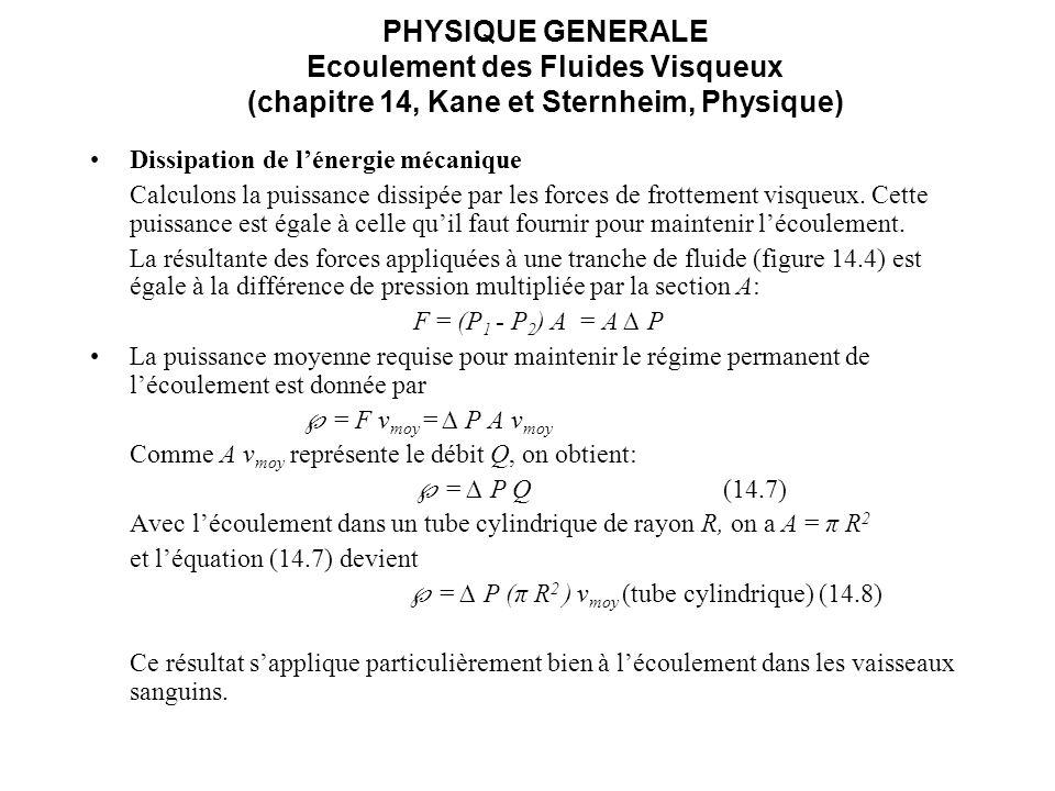 PHYSIQUE GENERALE Ecoulement des Fluides Visqueux (chapitre 14, Kane et Sternheim, Physique) Dissipation de lénergie mécanique Calculons la puissance