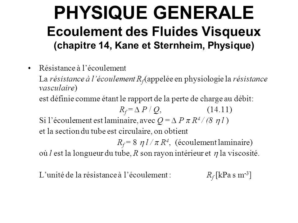 PHYSIQUE GENERALE Ecoulement des Fluides Visqueux (chapitre 14, Kane et Sternheim, Physique) Résistance à lécoulement La résistance à lécoulement R f