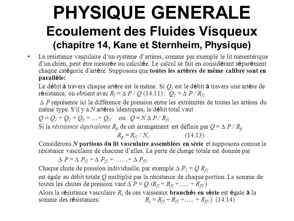 PHYSIQUE GENERALE Ecoulement des Fluides Visqueux (chapitre 14, Kane et Sternheim, Physique) La résistance vasculaire dun système dartères, comme par