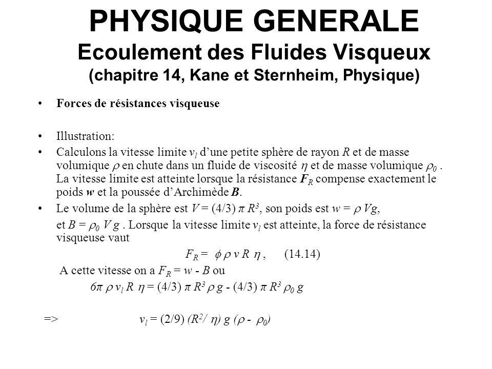 PHYSIQUE GENERALE Ecoulement des Fluides Visqueux (chapitre 14, Kane et Sternheim, Physique) Forces de résistances visqueuse Illustration: Calculons l
