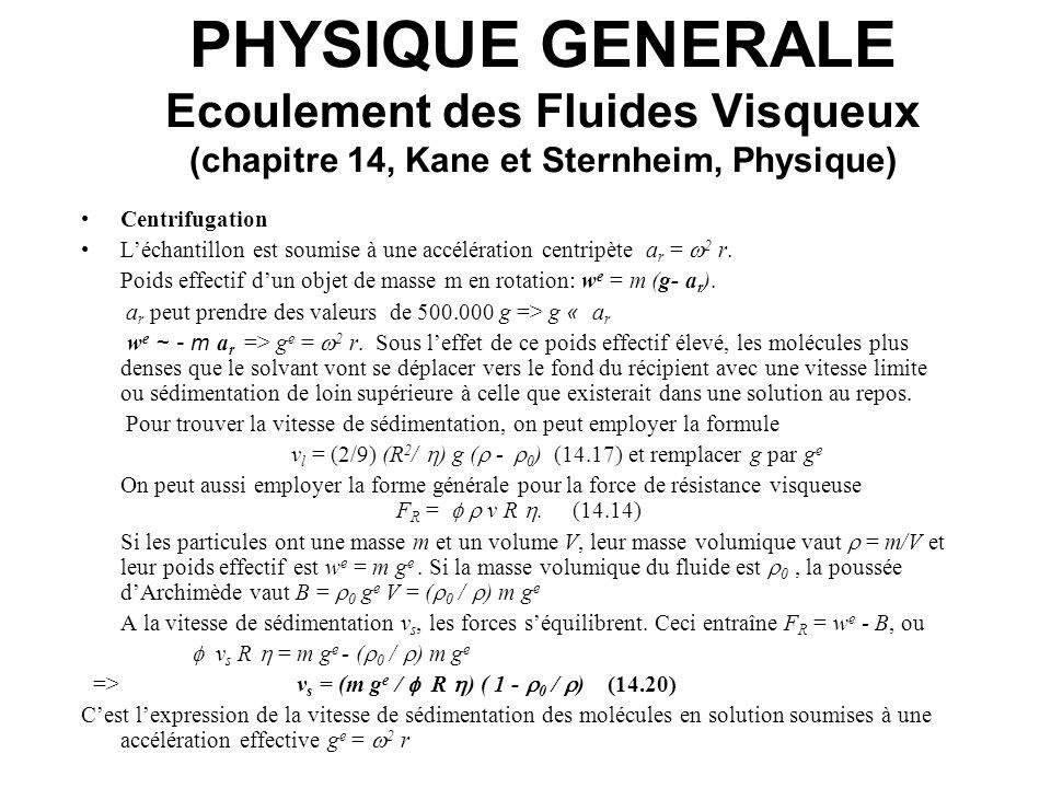 PHYSIQUE GENERALE Ecoulement des Fluides Visqueux (chapitre 14, Kane et Sternheim, Physique) Centrifugation Léchantillon est soumise à une accélératio