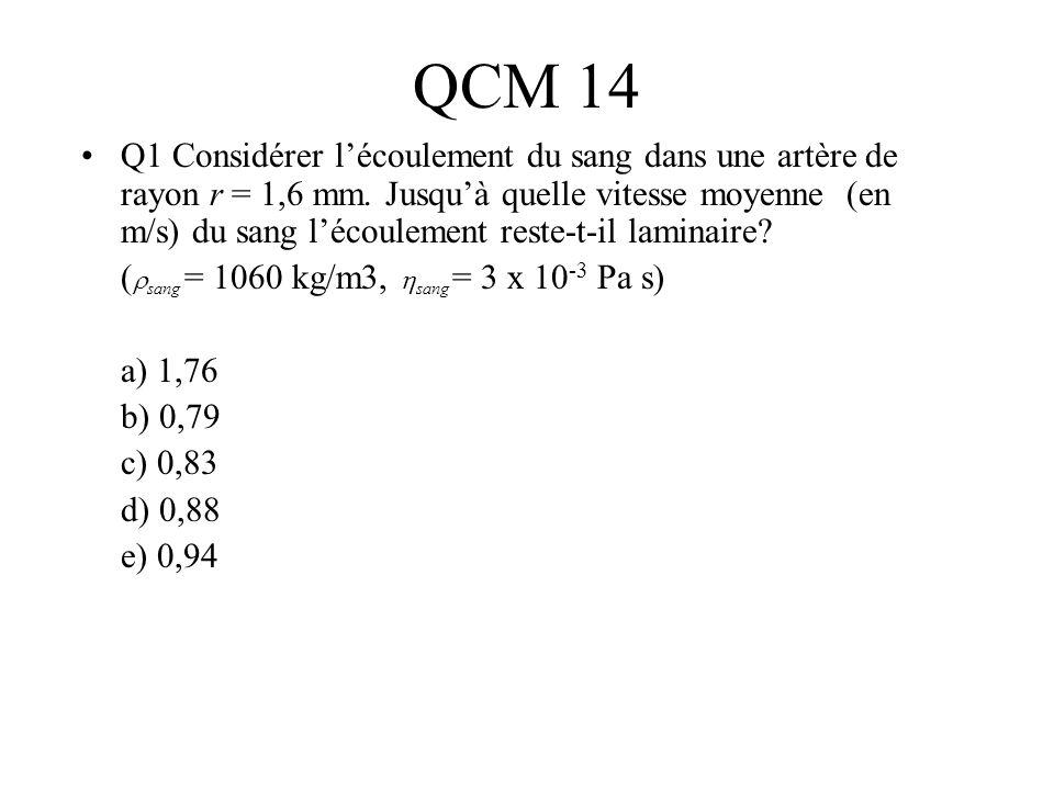 QCM 14 Q1 Considérer lécoulement du sang dans une artère de rayon r = 1,6 mm. Jusquà quelle vitesse moyenne (en m/s) du sang lécoulement reste-t-il la