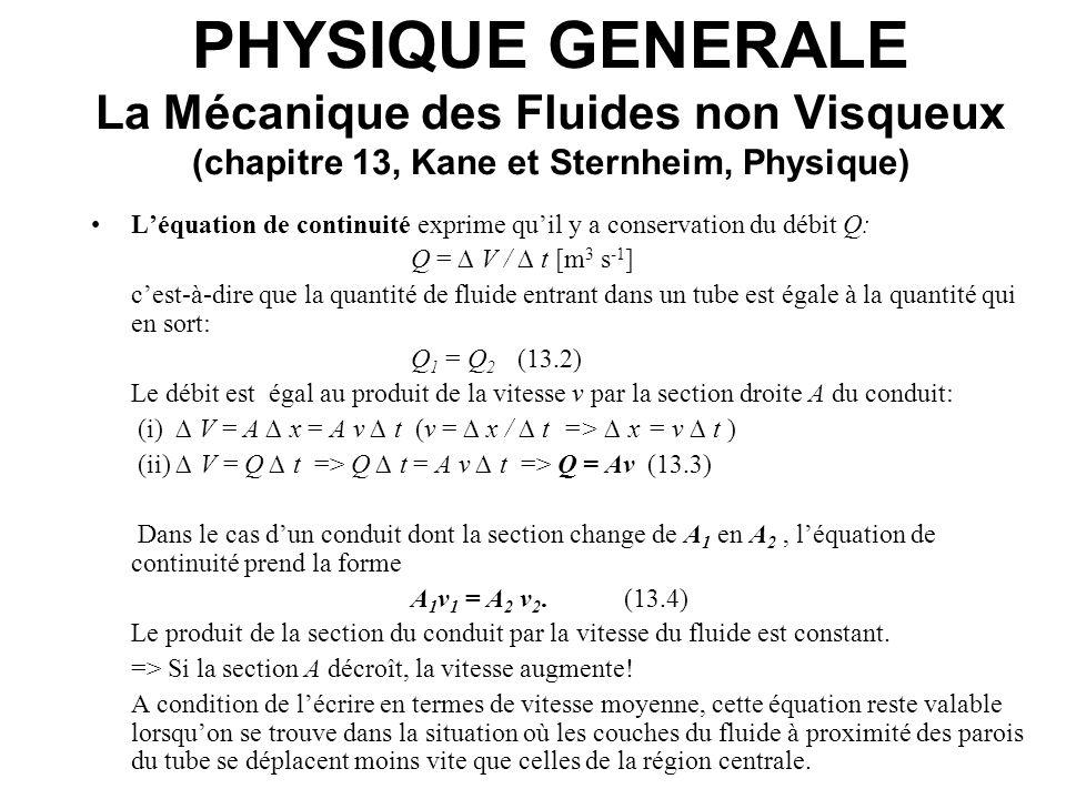 PHYSIQUE GENERALE La Mécanique des Fluides non Visqueux (chapitre 13, Kane et Sternheim, Physique) Le théorème de Bernoulli exprime que la somme de la pression et de lénergie mécanique par unité de volume est constante tout au long dun tube de courant.