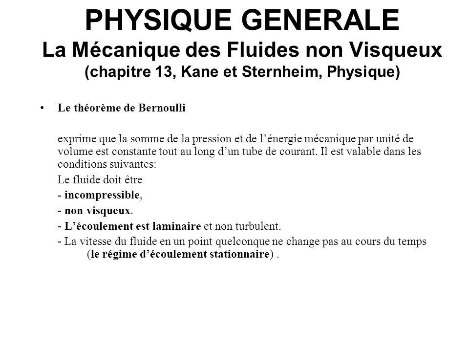 PHYSIQUE GENERALE La Mécanique des Fluides non Visqueux (chapitre 13, Kane et Sternheim, Physique) Théorème de Bernoulli: Considérons un fluide dans une portion de tube de courant de section variable (Fig.