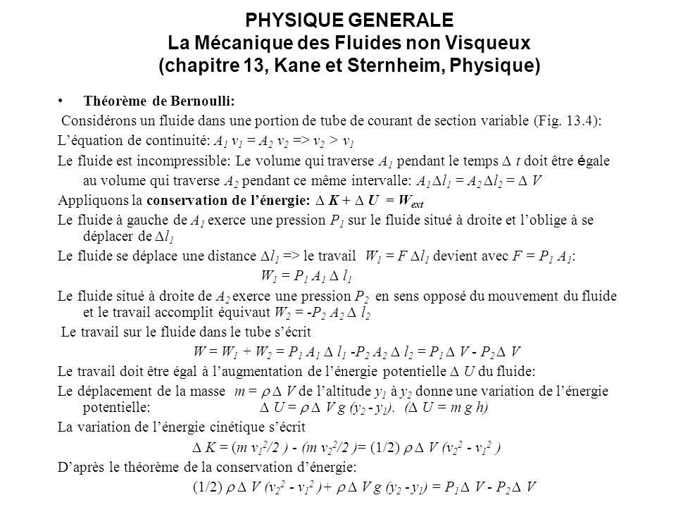 PHYSIQUE GENERALE La Mécanique des Fluides non Visqueux (chapitre 13, Kane et Sternheim, Physique) Théorème de Bernoulli: (1/2) V (v 2 2 - v 1 2 ) + V g (y 2 - y 1 ) = P 1 V - P 2 V En divisant par V, on obtient: (1/2) (v 2 2 - v 1 2 ) + g (y 2 - y 1 ) = P 1 - P 2 (13.5) Après réorganisation des termes on obtient le théorème de Bernoulli: P 1 + ( v 1 2 /2) + g y 1 = P 2 + ( v 2 2 /2 ) + g y 2 (13.6) La somme de la pression et de lénergie mécanique par unité de volume, cest-à-dire la quantité P + ( v 2 /2 )+ g y est constante tout le long du tube de courant.