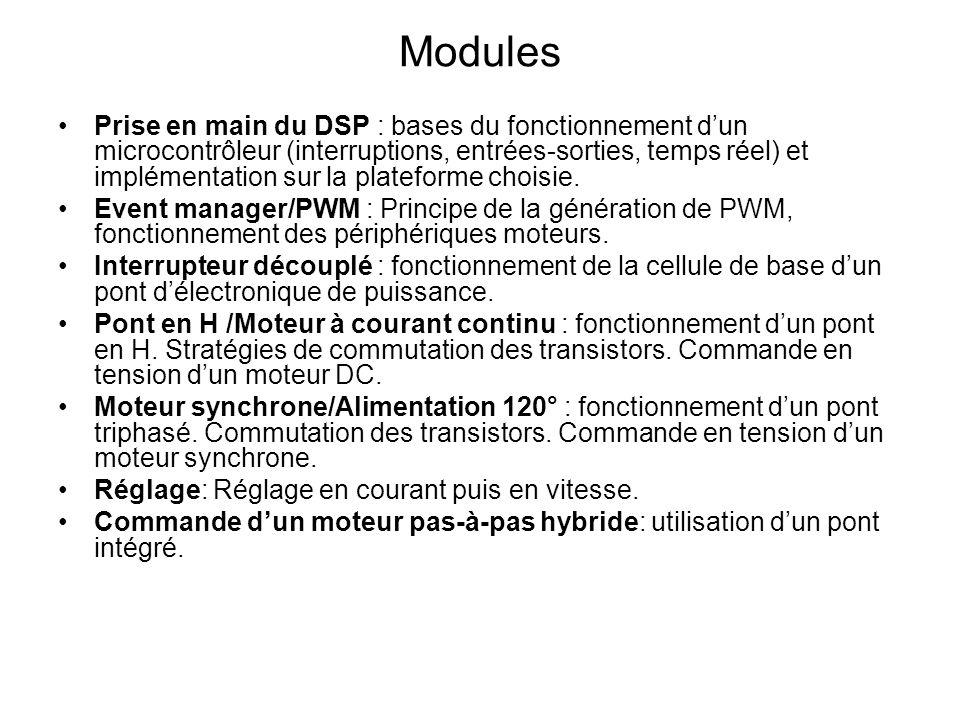 Modules Prise en main du DSP : bases du fonctionnement dun microcontrôleur (interruptions, entrées-sorties, temps réel) et implémentation sur la plate