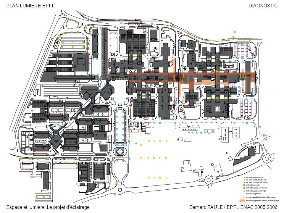 DIAGNOSTIC Espace et lumière: Le projet déclairage PLAN LUMIERE EPFL Bernard PAULE / EPFL-ENAC 2005-2006