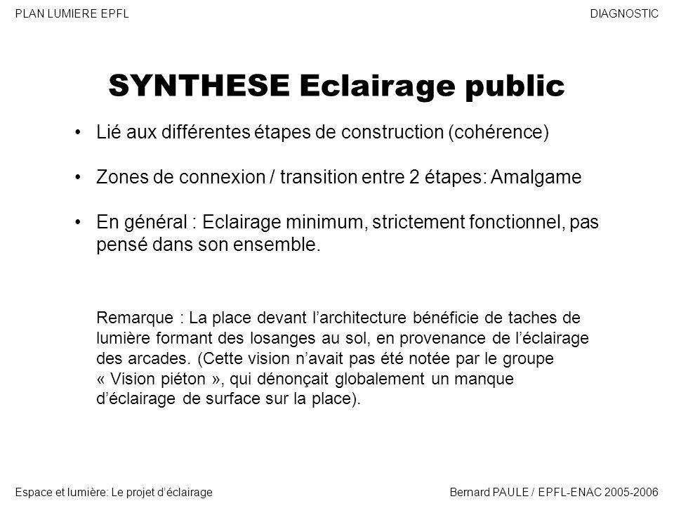 DIAGNOSTIC Espace et lumière: Le projet déclairage PLAN LUMIERE EPFL Bernard PAULE / EPFL-ENAC 2005-2006 SYNTHESE Eclairage public Lié aux différentes étapes de construction (cohérence) Zones de connexion / transition entre 2 étapes: Amalgame En général : Eclairage minimum, strictement fonctionnel, pas pensé dans son ensemble.