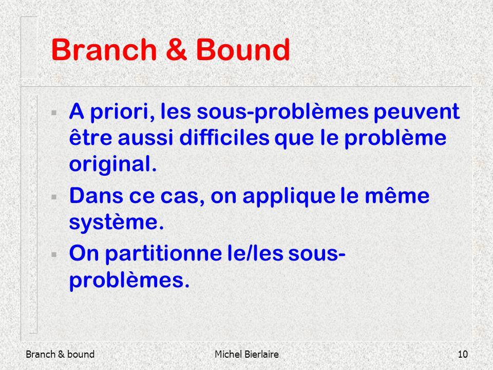 Branch & boundMichel Bierlaire10 Branch & Bound A priori, les sous-problèmes peuvent être aussi difficiles que le problème original.