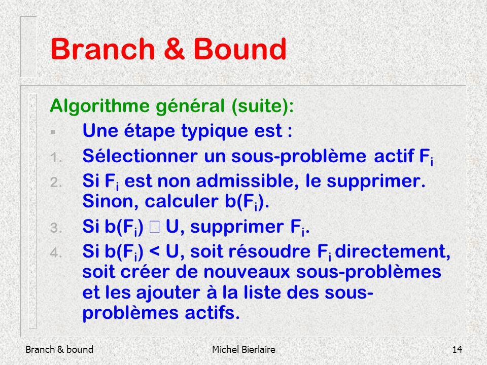 Branch & boundMichel Bierlaire14 Branch & Bound Algorithme général (suite): Une étape typique est : 1.