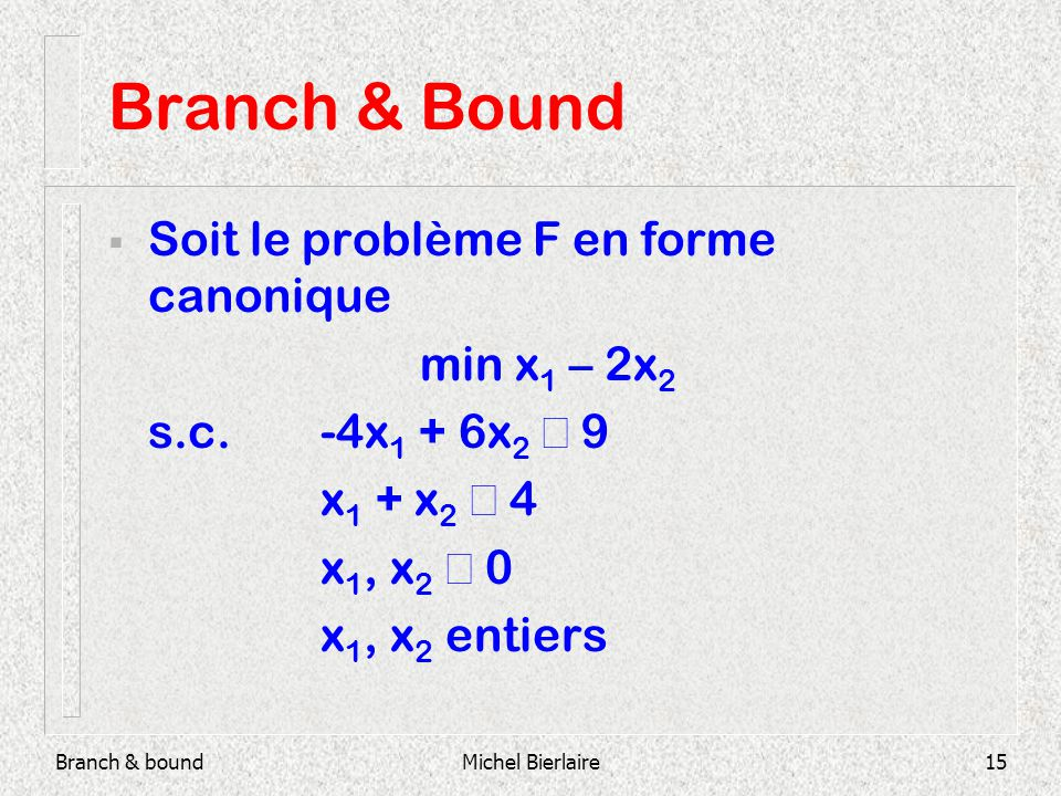 Branch & boundMichel Bierlaire15 Branch & Bound Soit le problème F en forme canonique min x 1 – 2x 2 s.c.