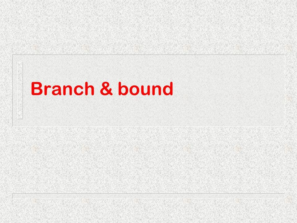 Branch & boundMichel Bierlaire43 Branch & Bound F F2F2 F1F1 F 21 F 22 F 11 F 12 F 121 F 122 x 3 =1x 3 =0 x 2 =0 x 2 =1 x 1 =0x 1 =1 x 4 =0x 4 =1 4 200 000