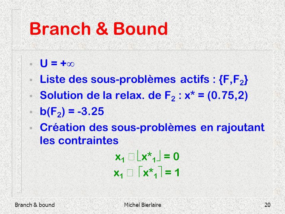 Branch & boundMichel Bierlaire20 Branch & Bound U = + Liste des sous-problèmes actifs : {F,F 2 } Solution de la relax.