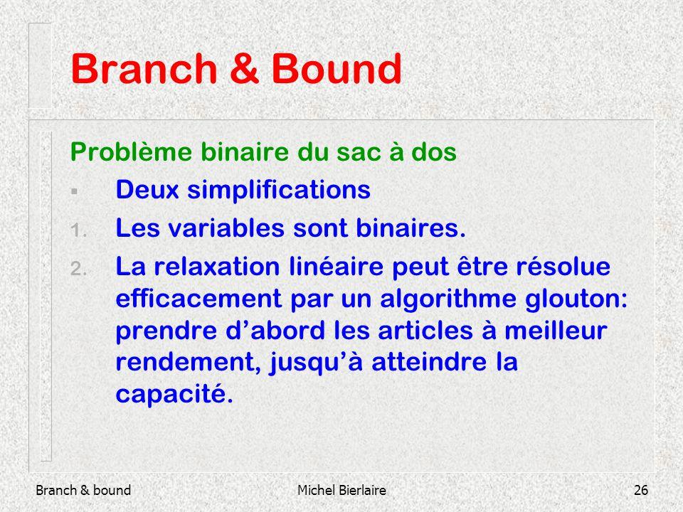 Branch & boundMichel Bierlaire26 Branch & Bound Problème binaire du sac à dos Deux simplifications 1.