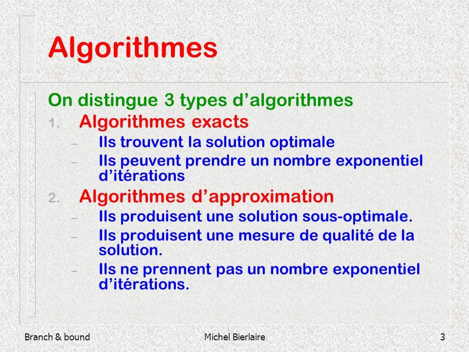Michel Bierlaire3 Algorithmes On distingue 3 types dalgorithmes 1. Algorithmes exacts – Ils trouvent la solution optimale – Ils peuvent prendre un nom