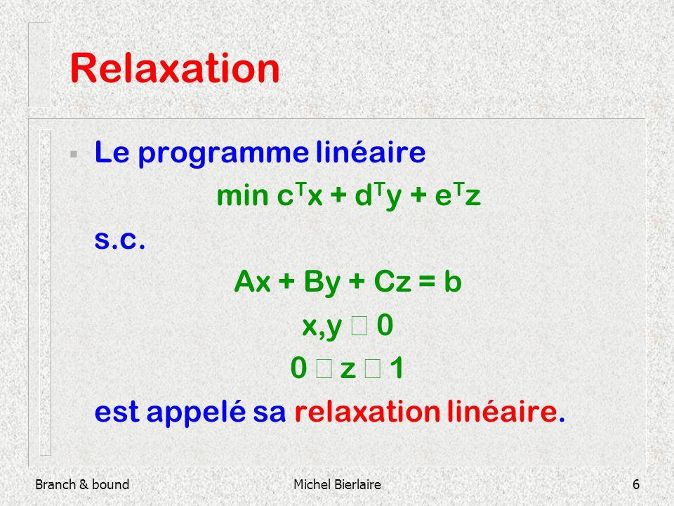 Branch & boundMichel Bierlaire17 Branch & Bound U = + Liste des sous-problèmes actifs : {F} Solution de la relax.