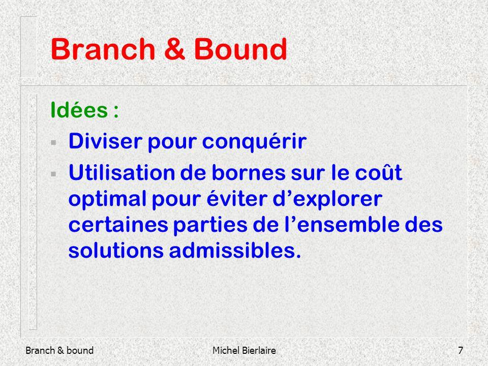 Branch & boundMichel Bierlaire7 Branch & Bound Idées : Diviser pour conquérir Utilisation de bornes sur le coût optimal pour éviter dexplorer certaines parties de lensemble des solutions admissibles.