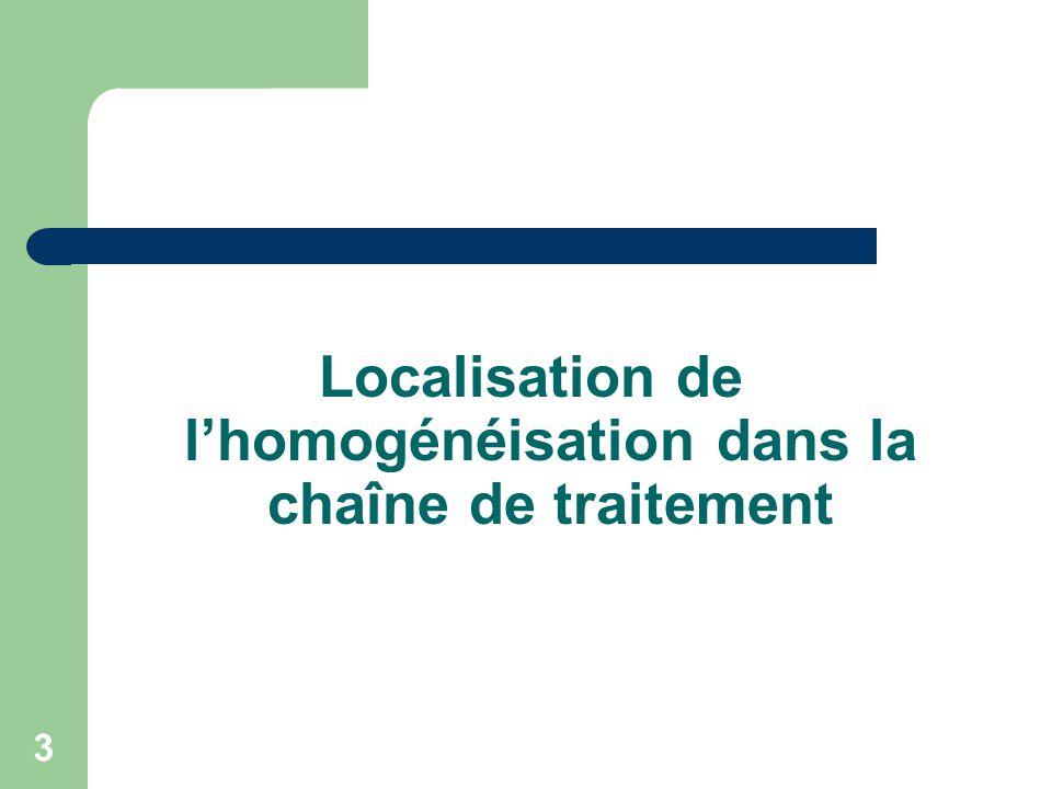 3 Localisation de lhomogénéisation dans la chaîne de traitement