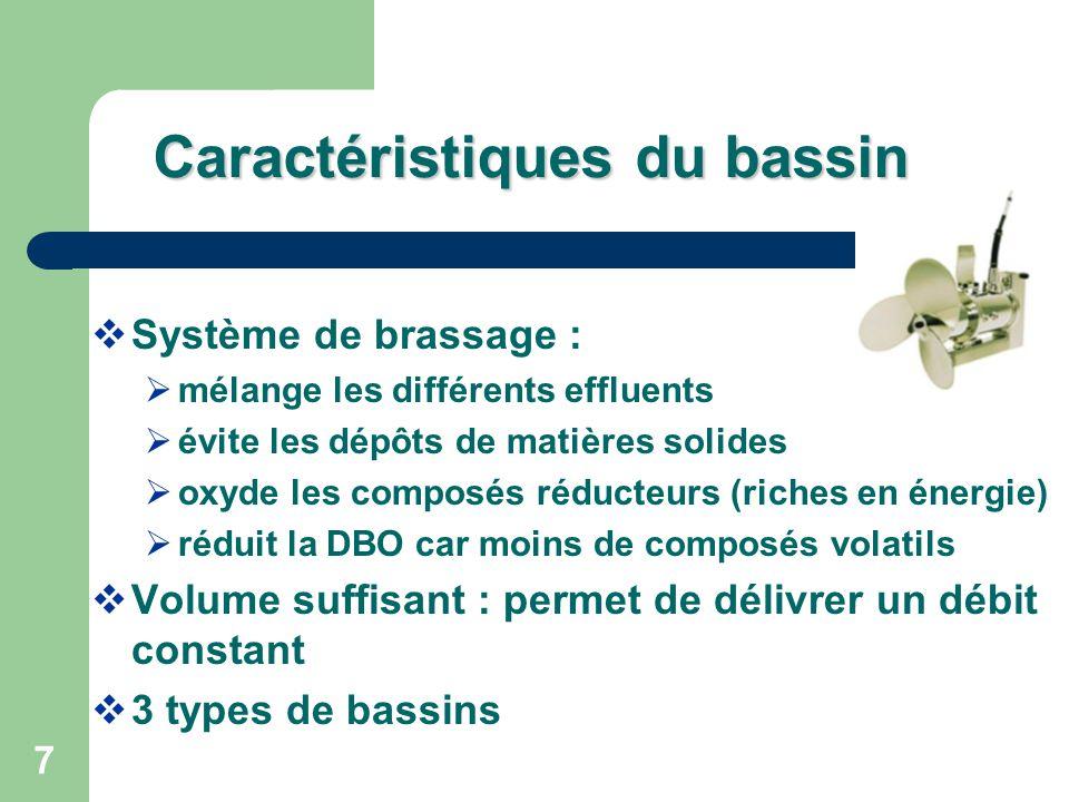 7 Caractéristiquesdu bassin Caractéristiques du bassin Système de brassage : mélange les différents effluents évite les dépôts de matières solides oxy
