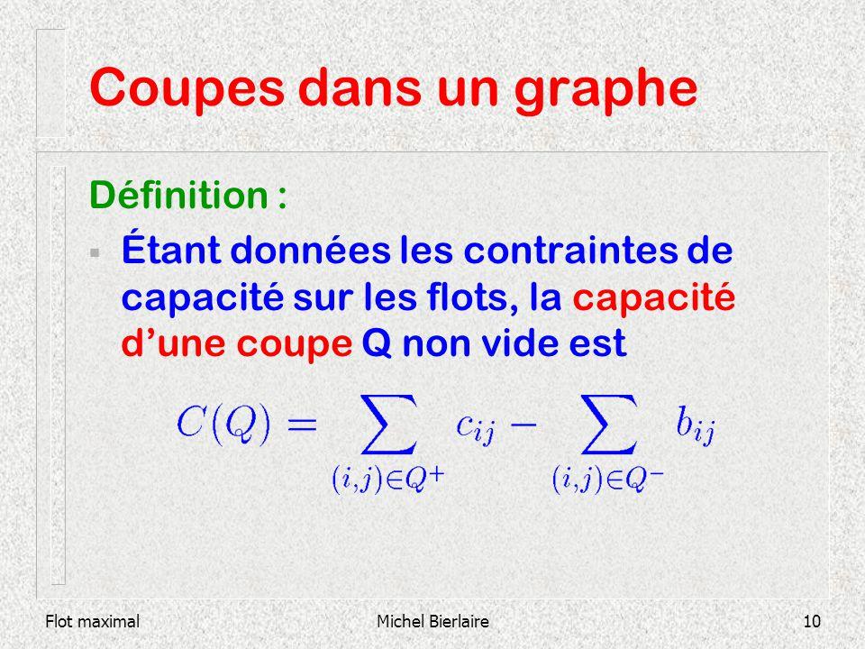 Flot maximalMichel Bierlaire10 Coupes dans un graphe Définition : Étant données les contraintes de capacité sur les flots, la capacité dune coupe Q no
