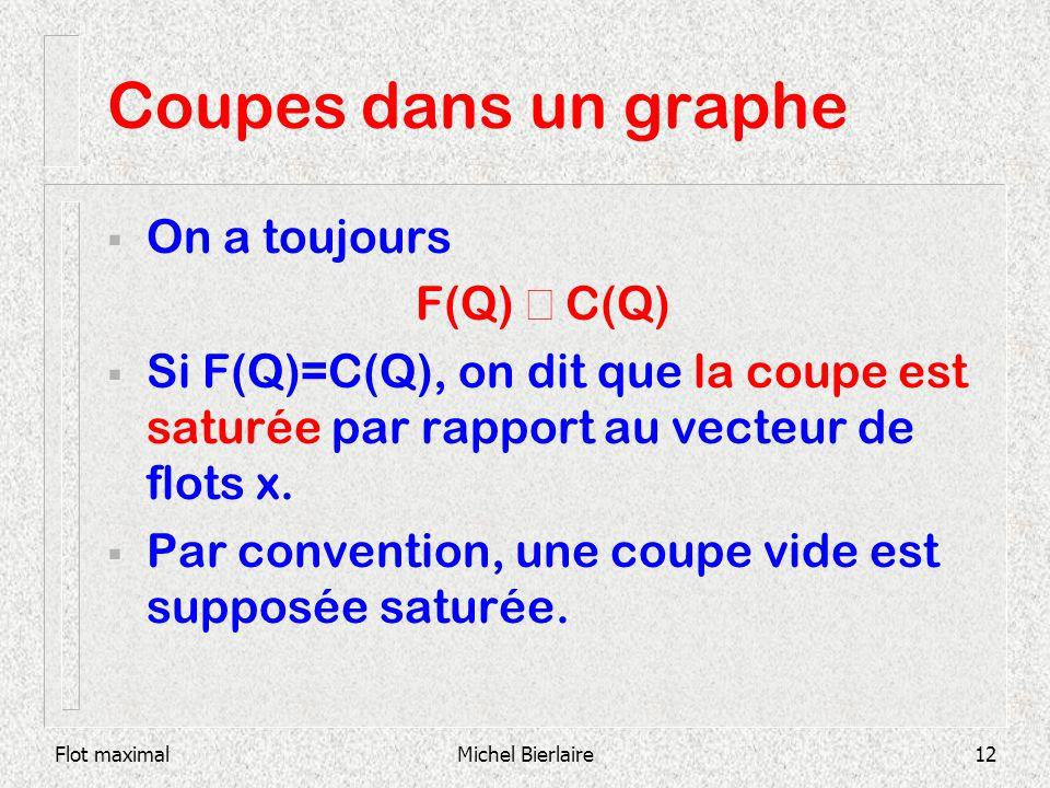 Flot maximalMichel Bierlaire12 Coupes dans un graphe On a toujours F(Q) C(Q) Si F(Q)=C(Q), on dit que la coupe est saturée par rapport au vecteur de f