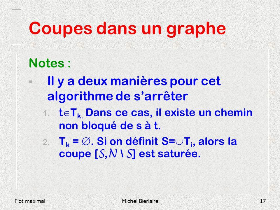 Flot maximalMichel Bierlaire17 Coupes dans un graphe Notes : Il y a deux manières pour cet algorithme de sarrêter 1. t T k. Dans ce cas, il existe un