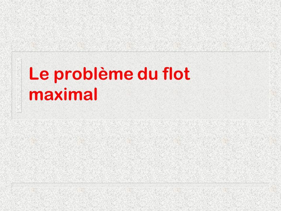 Flot maximalMichel Bierlaire3 Introduction Données : Graphe ( N, A ) Capacités : x ij [b ij,c ij ] Un nœud source s Un nœud puits t Problème : Faire passer un maximum de flot de s à t.