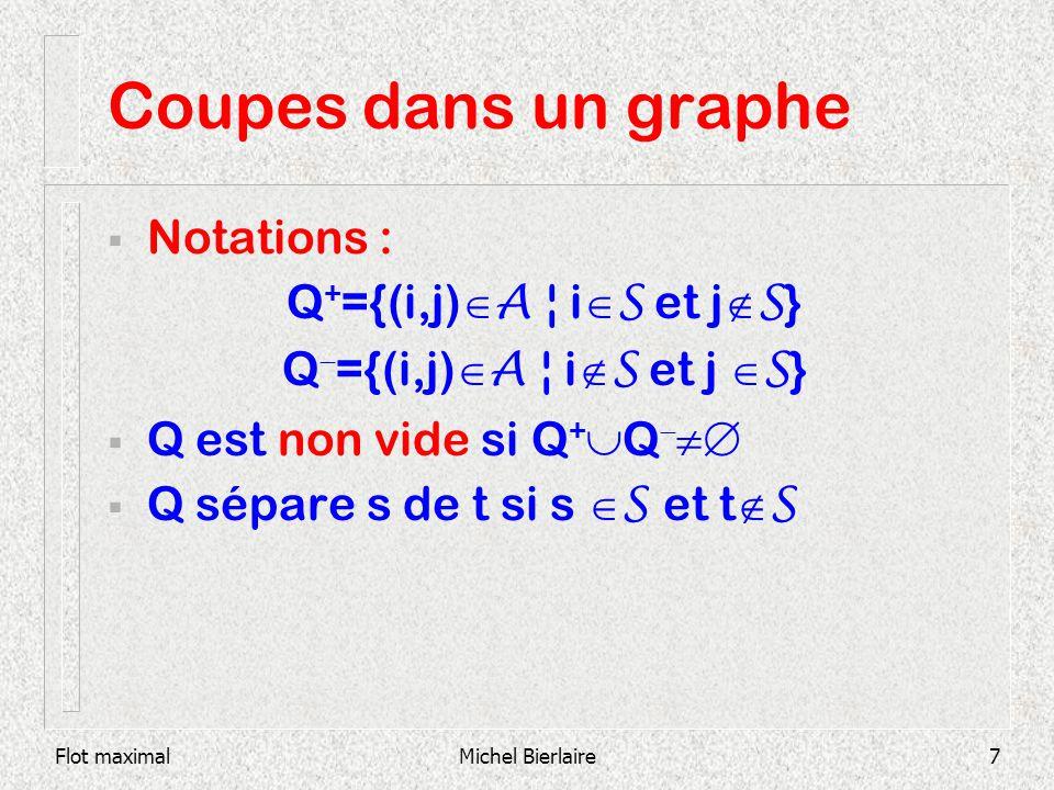 Flot maximalMichel Bierlaire8 Coupes dans un graphe S={1,2,3} Q + ={(2,4),(1,6)} Q - ={(4,1),(6,3),(5,3)} 1 6 2 3 5 4 S N \ S