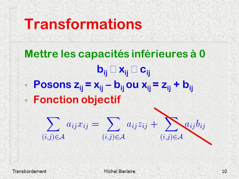 TransbordementMichel Bierlaire10 Transformations Mettre les capacités inférieures à 0 b ij x ij c ij Posons z ij = x ij – b ij ou x ij = z ij + b ij F