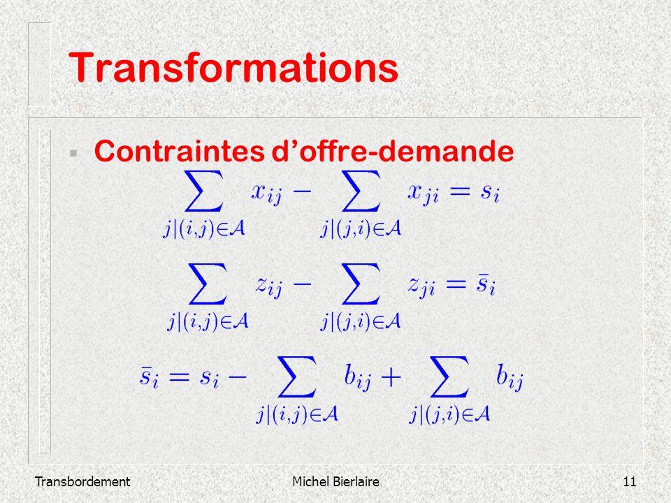 TransbordementMichel Bierlaire11 Transformations Contraintes doffre-demande