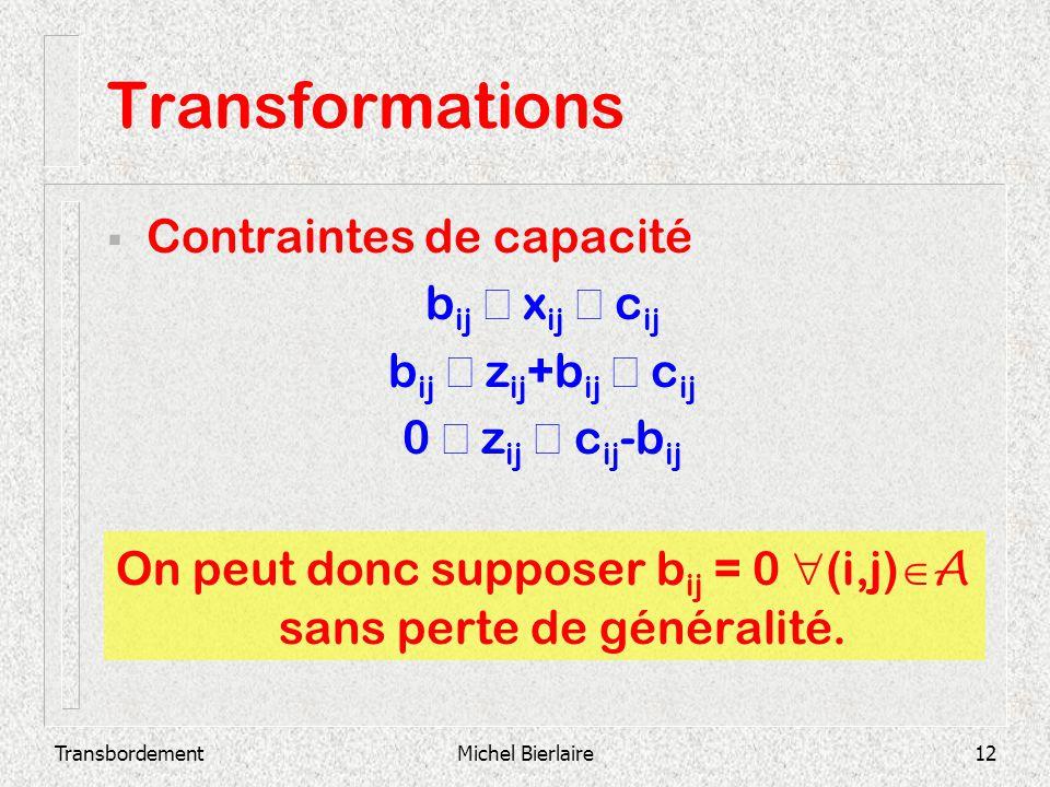 TransbordementMichel Bierlaire12 Transformations Contraintes de capacité b ij x ij c ij b ij z ij +b ij c ij 0 z ij c ij -b ij On peut donc supposer b