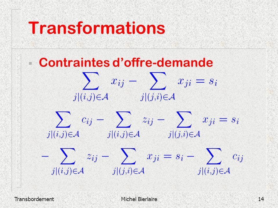 TransbordementMichel Bierlaire14 Transformations Contraintes doffre-demande