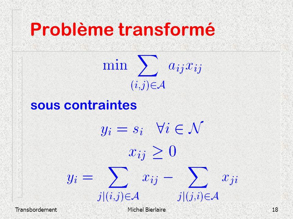 TransbordementMichel Bierlaire18 Problème transformé sous contraintes