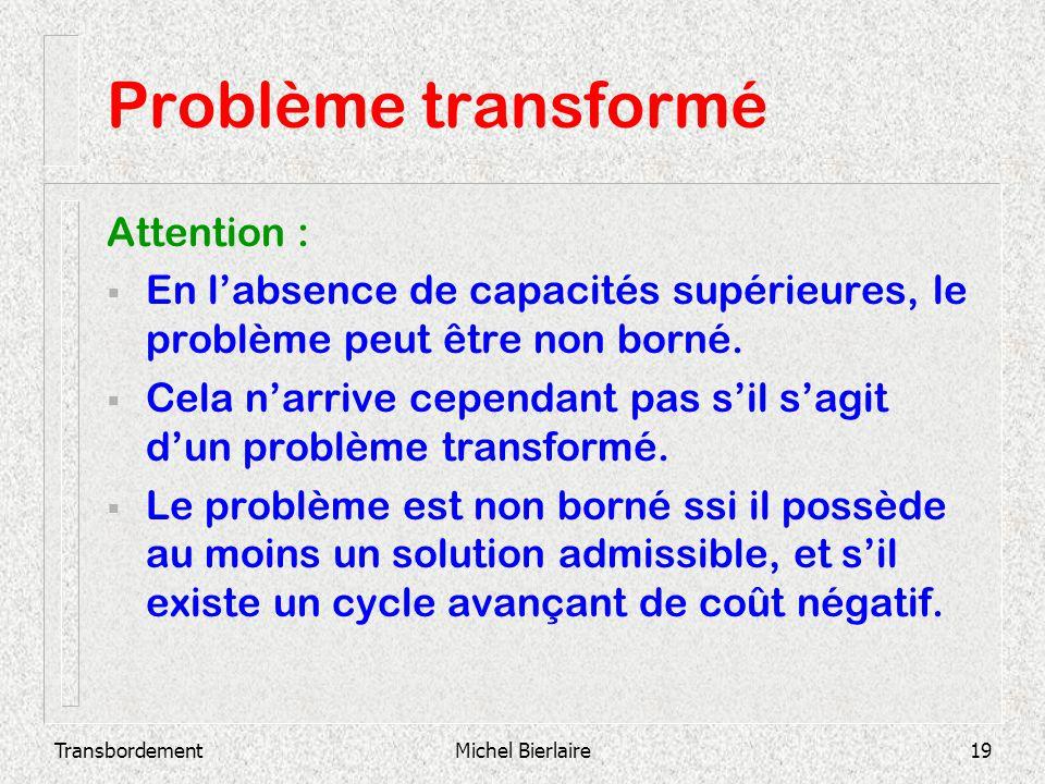 TransbordementMichel Bierlaire19 Problème transformé Attention : En labsence de capacités supérieures, le problème peut être non borné. Cela narrive c
