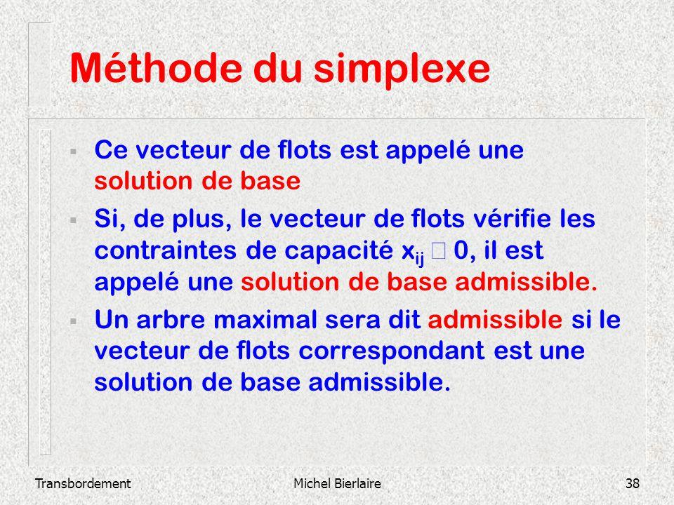 TransbordementMichel Bierlaire38 Méthode du simplexe Ce vecteur de flots est appelé une solution de base Si, de plus, le vecteur de flots vérifie les