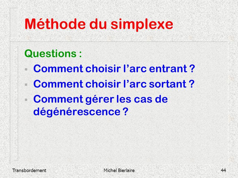 TransbordementMichel Bierlaire44 Méthode du simplexe Questions : Comment choisir larc entrant ? Comment choisir larc sortant ? Comment gérer les cas d
