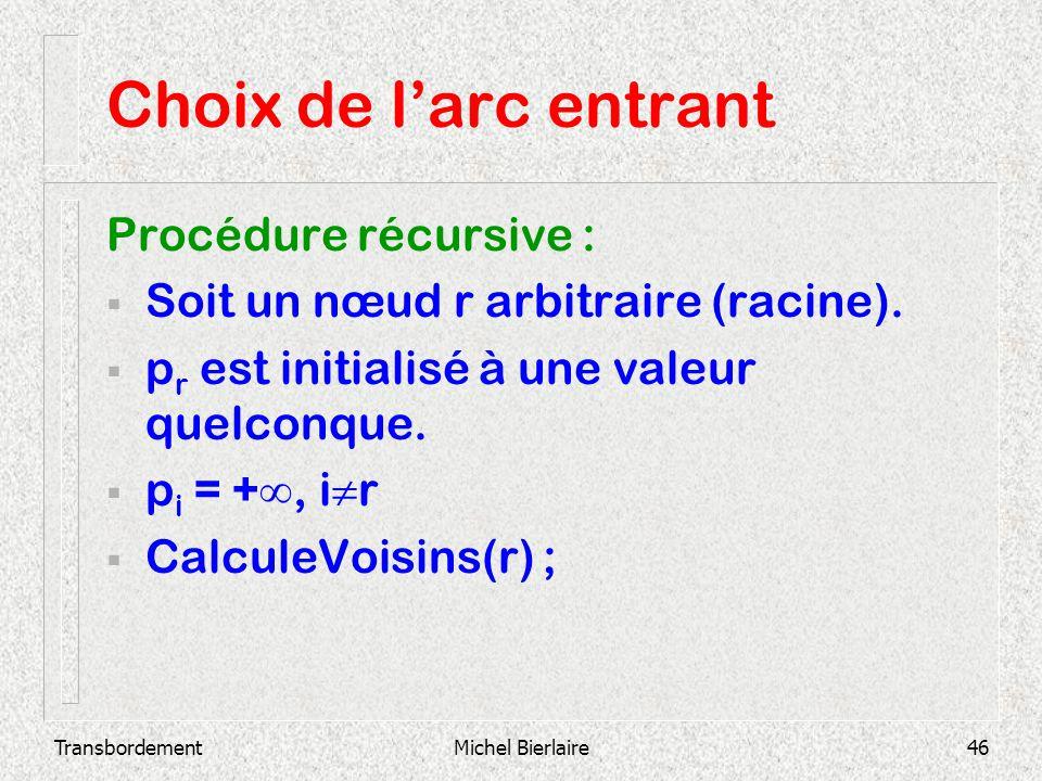 TransbordementMichel Bierlaire46 Choix de larc entrant Procédure récursive : Soit un nœud r arbitraire (racine). p r est initialisé à une valeur quelc