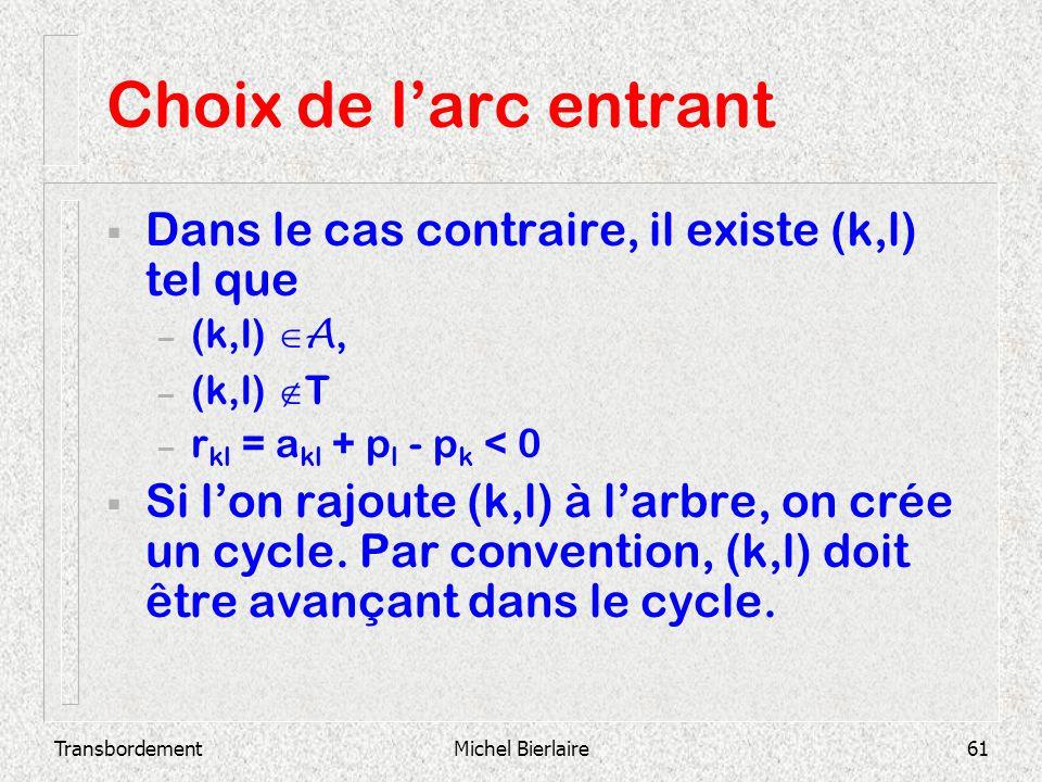 TransbordementMichel Bierlaire61 Choix de larc entrant Dans le cas contraire, il existe (k,l) tel que – (k,l) A, – (k,l) T – r kl = a kl + p l - p k <