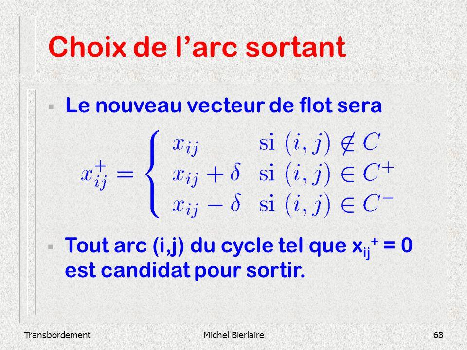 TransbordementMichel Bierlaire68 Choix de larc sortant Le nouveau vecteur de flot sera Tout arc (i,j) du cycle tel que x ij + = 0 est candidat pour so