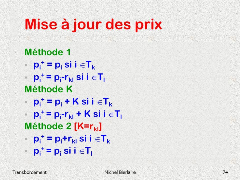 TransbordementMichel Bierlaire74 Mise à jour des prix Méthode 1 p i + = p i si i T k p i + = p i -r kl si i T l Méthode K p i + = p i + K si i T k p i