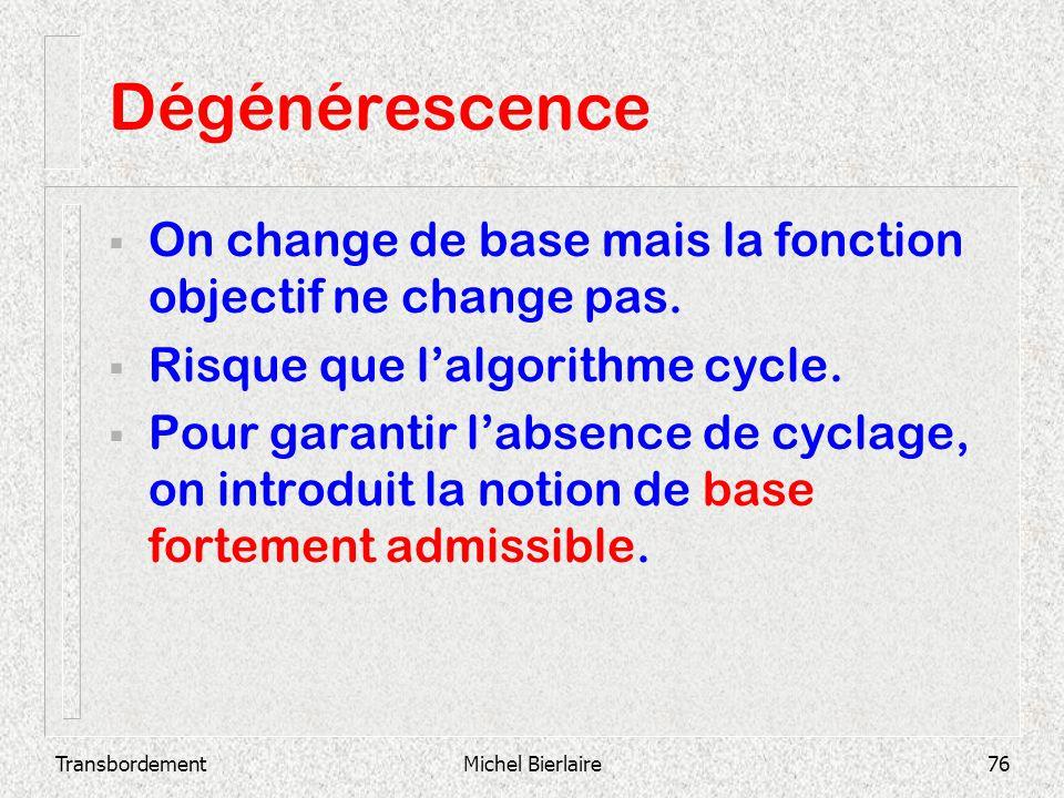 TransbordementMichel Bierlaire76 Dégénérescence On change de base mais la fonction objectif ne change pas. Risque que lalgorithme cycle. Pour garantir