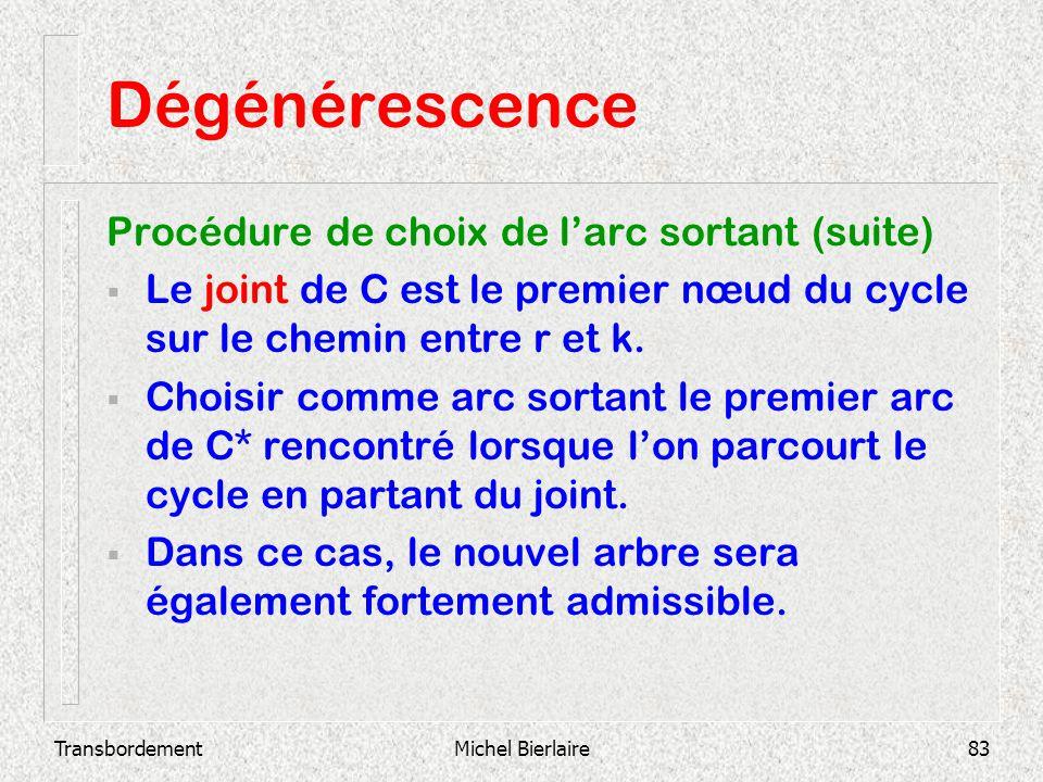 TransbordementMichel Bierlaire83 Dégénérescence Procédure de choix de larc sortant (suite) Le joint de C est le premier nœud du cycle sur le chemin en