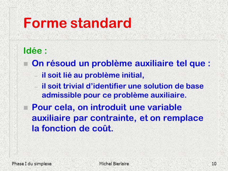 Phase I du simplexeMichel Bierlaire10 Forme standard Idée : n On résoud un problème auxiliaire tel que : – il soit lié au problème initial, – il soit