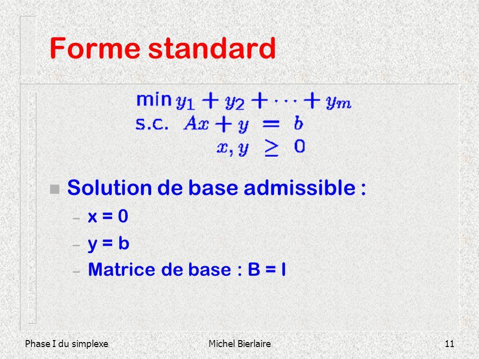 Phase I du simplexeMichel Bierlaire11 Forme standard n Solution de base admissible : – x = 0 – y = b – Matrice de base : B = I