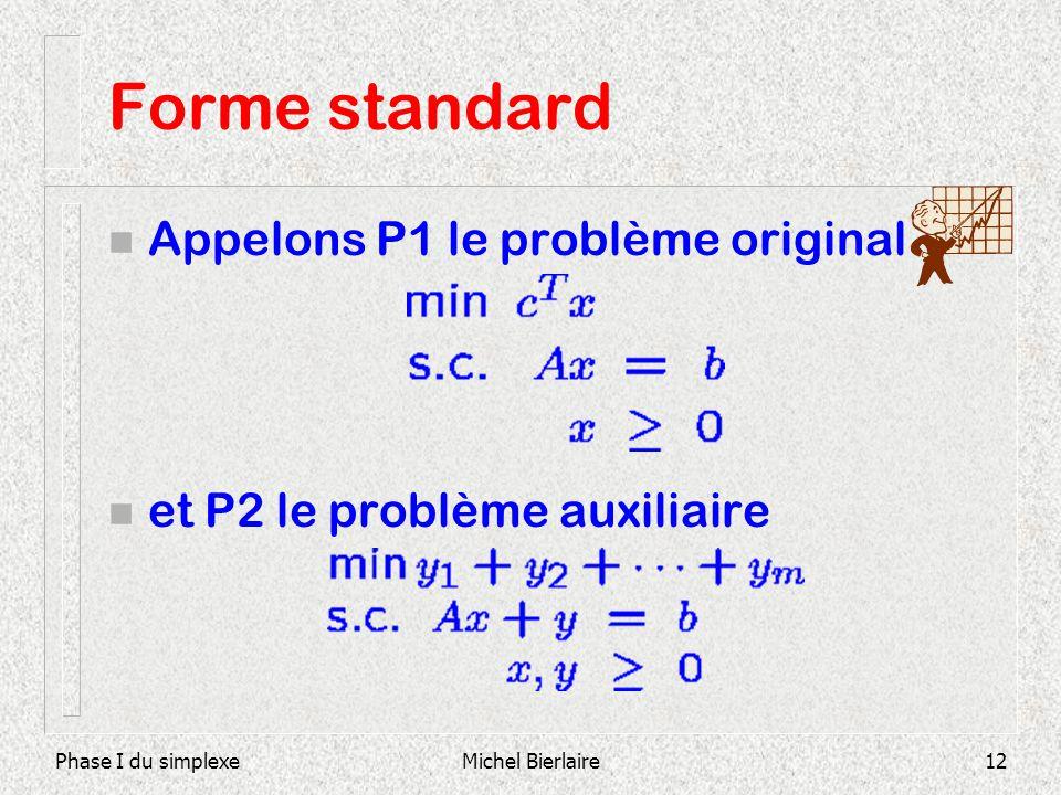 Phase I du simplexeMichel Bierlaire12 Forme standard n Appelons P1 le problème original n et P2 le problème auxiliaire